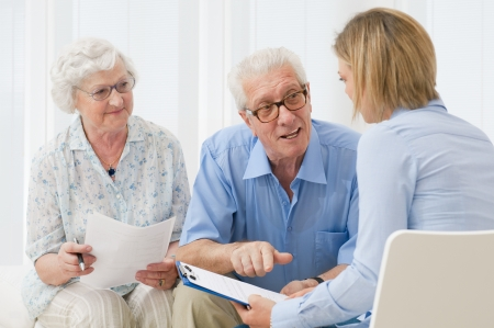 Business agent planning with a retired couple their future investments