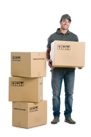 Photo pour Happy smiling delivery man carrying boxes isolated on white background - image libre de droit