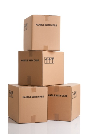 Pile of cardboard boxes ready to be shipped isolated on white background