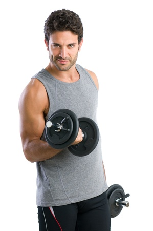 Satisfied young strength man lifting dumbbell isolated on white background