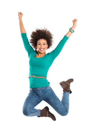 Portrait Of Gir Jumping In Joy Isolated Over White Background