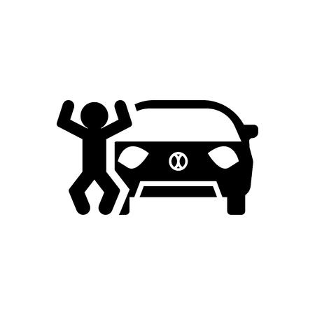 Happy Businessman Standing Near Black Car Car Insurance Icon