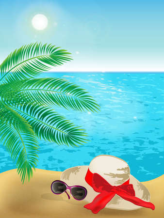 Illustration for Summer background of sunny beach with palm tree, sunglasses, hat and blue sea. - Royalty Free Image