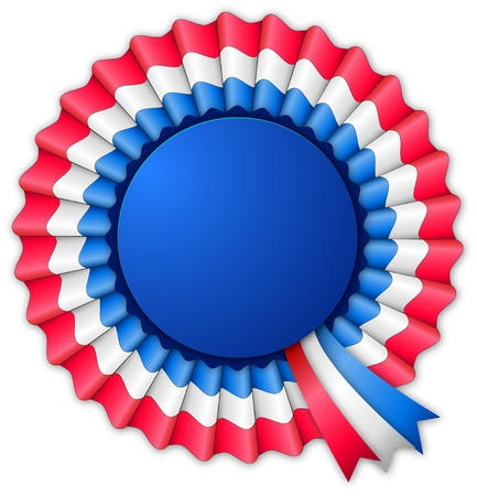 Blue red and white blank rosette with ribbon isolated on white
