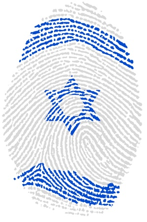 Israel fingerprint passport  flag on white paper