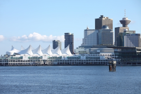 Canada Place in Vancouver BC Canada a port of entry & departure for cruise ships.