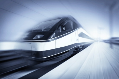 Foto de High-speed modern intercity train with motion blur, abstract - Imagen libre de derechos