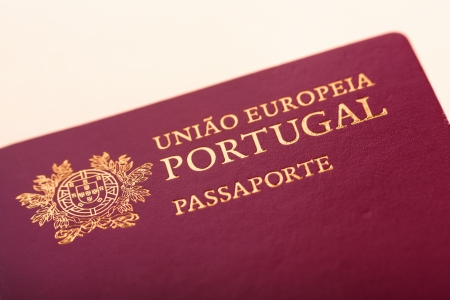 Detail of Portuguese passport close-up, shallow DOF
