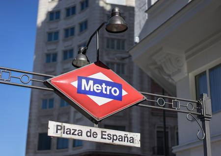 Subway sign in Plaza de Espa  a Madrid