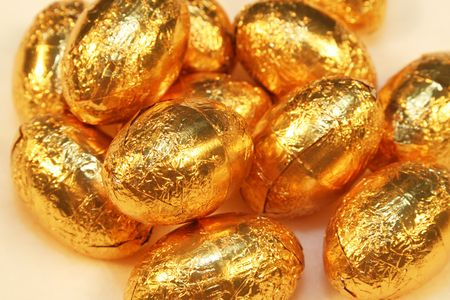 Choclate easter eggs wrapped in golden paper