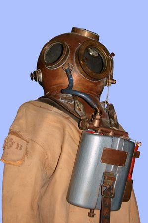 old diving suit and helmet