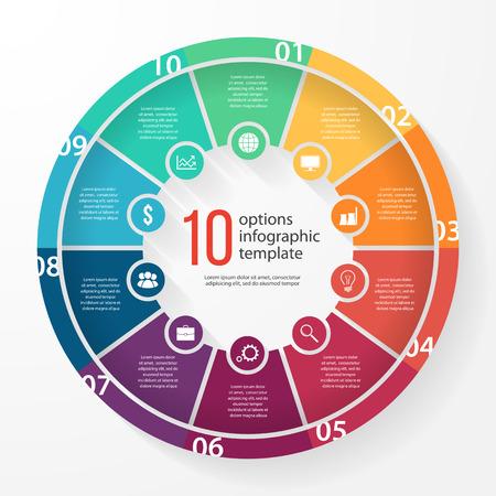 Illustration pour business pie chart template for graphs, charts, diagrams. Business circle infographic concept with 10 options, parts, steps, processes. - image libre de droit