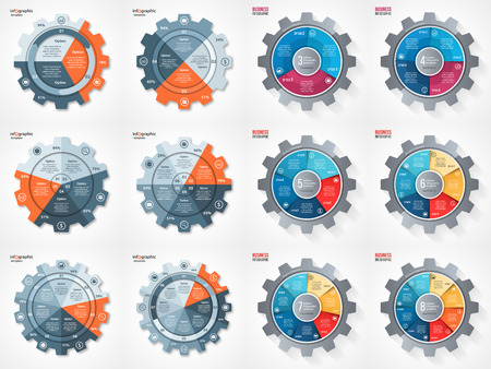 business and industry gear style circle infographic set for graphs, charts, diagrams and other infographics. Pie chart, cycle chart, round chart templates with 3, 4, 5, 6, 7, 8 options, parts, steps, processes.