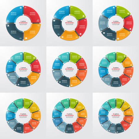 Illustration pour Set of pie chart circle infographic templates with 4-12 options, steps, parts, processes. Vector illustration. - image libre de droit