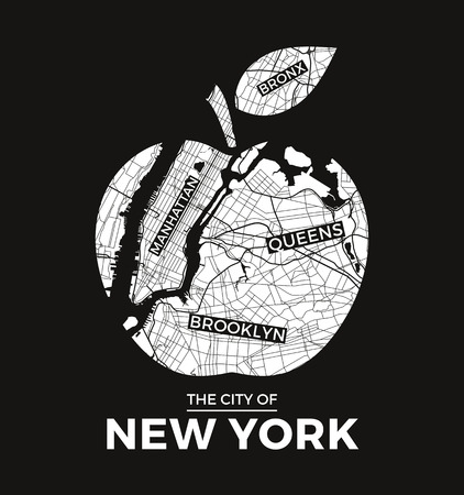 New York big apple t-shirt graphic design with city map  Tee