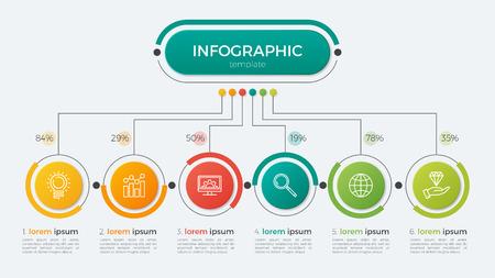 Illustration pour Presentation business infographic template with 6 options. Vector illustration. - image libre de droit