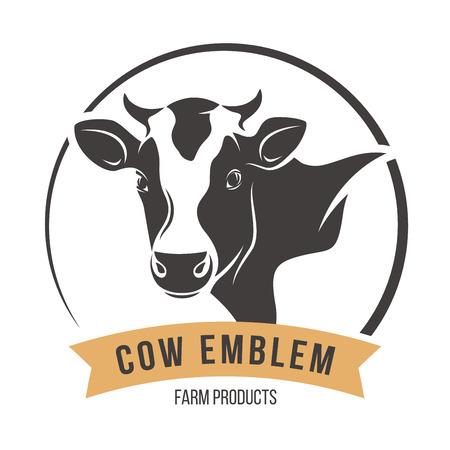 Ilustración de Cow head silhouette emblem label. Vector illustration. - Imagen libre de derechos