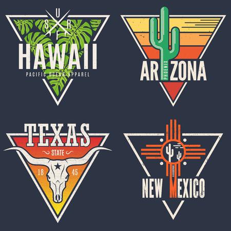 Illustration for Set of Hawaii Arizona Texas New Mexico tee prints. - Royalty Free Image