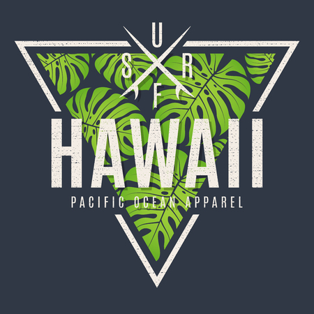 Illustration for Hawaii tee print with with tropical leaves - Royalty Free Image