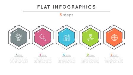 Illustration pour Flat style 5 steps timeline infographic template. - image libre de droit