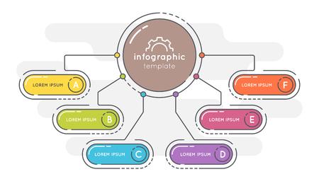 Illustration pour Flat style 6 options presentation infographic template. - image libre de droit