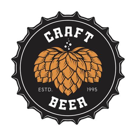 Illustration pour Illustration of craft beer bottle cap with hops - image libre de droit
