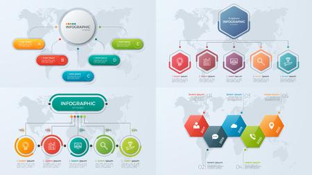 Illustration pour Set of presentation business infographic templates with 5 option - image libre de droit