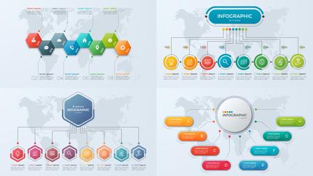 Illustration pour Set of presentation business infographic templates with 8 option - image libre de droit