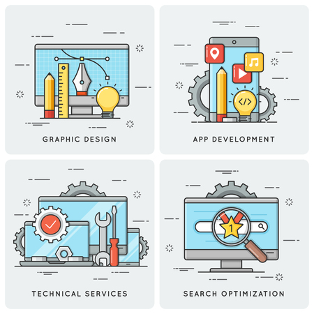 Graphic design. Mobile app development. Technical services. SEO