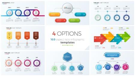 Ilustración de Collection of eight vector templates for infographics with 4 options, steps, processes - Imagen libre de derechos