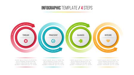 Illustration pour Four steps infographic process chart with circular arrows. - image libre de droit