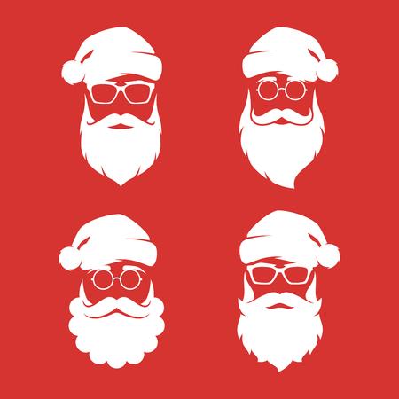 Illustration pour Collection of four hipster style Santa Claus silhouettes. - image libre de droit