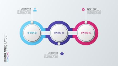Ilustración de Three steps infographic process chart. 3 options vector template - Imagen libre de derechos