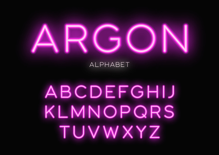 Illustration pour Glowing neon typeface design. Vector alphabet, letters, font, ty - image libre de droit
