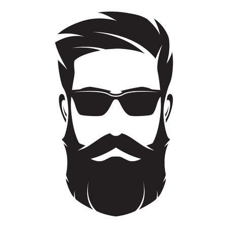 Illustration pour Bearded man s face, hipster character. Fashion silhouette, avata - image libre de droit