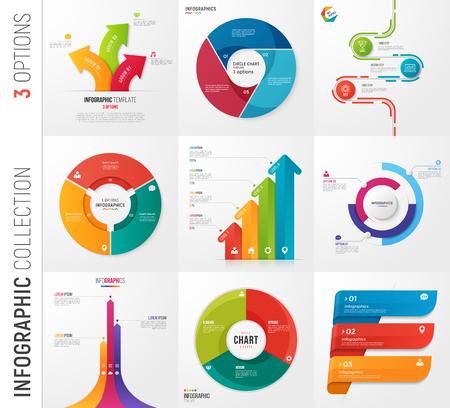 Ilustración de Infographic collection of 3 options vector templates. - Imagen libre de derechos