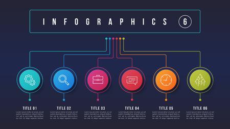 Illustration pour Vector 6 options infographic design, structure chart, presentation template. Editable stroke and global swatches. - image libre de droit