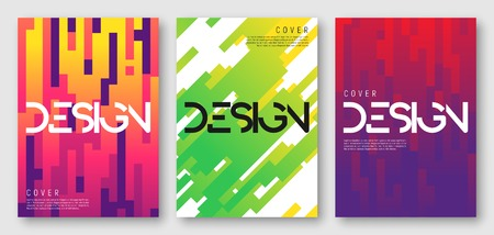 Illustration pour Abstract gradient geometric cover designs. - image libre de droit