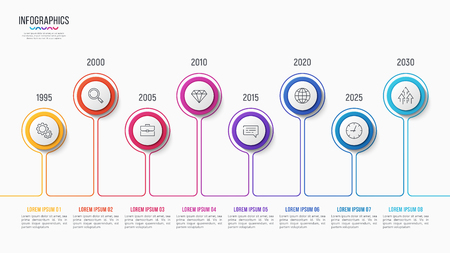 Illustration pour Vector 8 steps infographic design, timeline chart, presentation template on white background. Global swatches. - image libre de droit