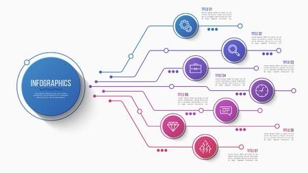 Illustration pour 7 options infographic vector design, structure chart, presentation template. Editable stroke and global swatches. - image libre de droit
