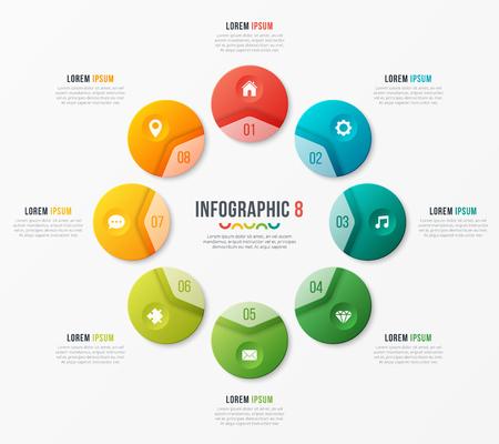 Illustration pour Circle chart template with 8 options. Vector design for infograp - image libre de droit