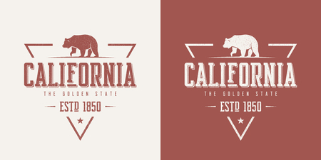 Illustration for California state textured vintage vector t-shirt and apparel des - Royalty Free Image