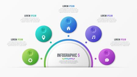 Ilustración de Circle chart template with 5 options. Vector design for illustration - Imagen libre de derechos