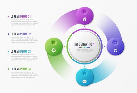 Ilustración de Rotating circle chart template with four options. - Imagen libre de derechos