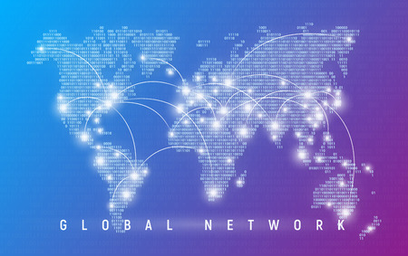 Ilustración de Global network, worldwide communication and connections - Imagen libre de derechos