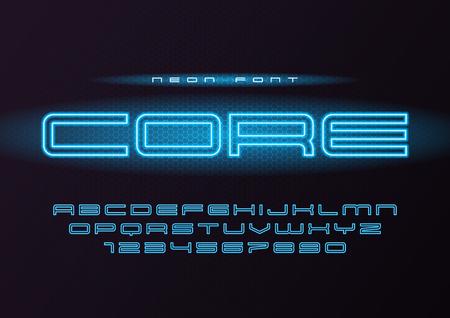 Core glowing vector neon futuristic font, typeface, alphabet, le