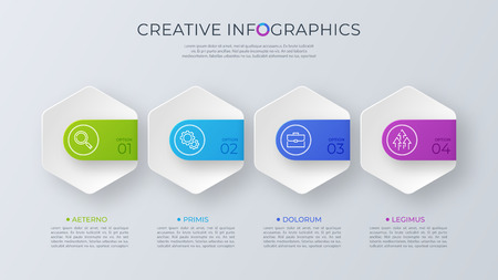 Illustration for Contemporary minimalist vector infographic design with four opti - Royalty Free Image