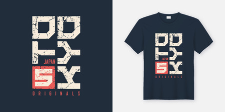 Illustration pour Tokyo Japan textured t-shirt and apparel design, typography, pri - image libre de droit