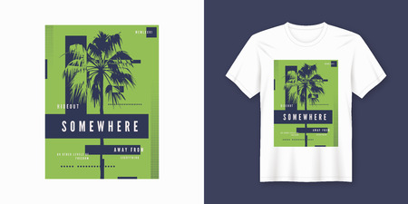 Illustration for Somewhere t-shirt and apparel trendy design with palm tree silhouette, typography, poster, print, vector illustration. Global swatches. - Royalty Free Image