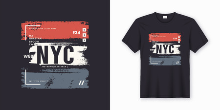 Ilustración de New York City stylish t-shirt and apparel abstract design. Vector print, typography, poster. Global swatches. - Imagen libre de derechos